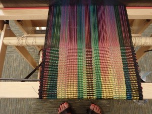 My weaving is settling in. It's time to take it home and make fabric.