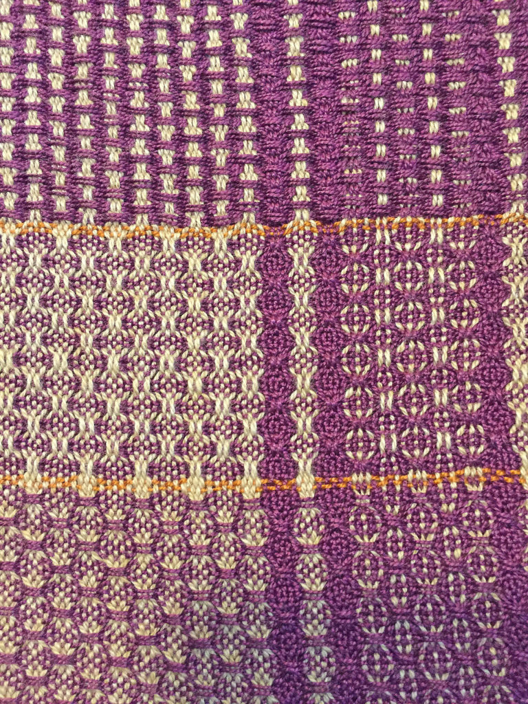 Spot Huck Weft Floats, Spot Huck Warp Floats, Huck Lace With Purple Weft