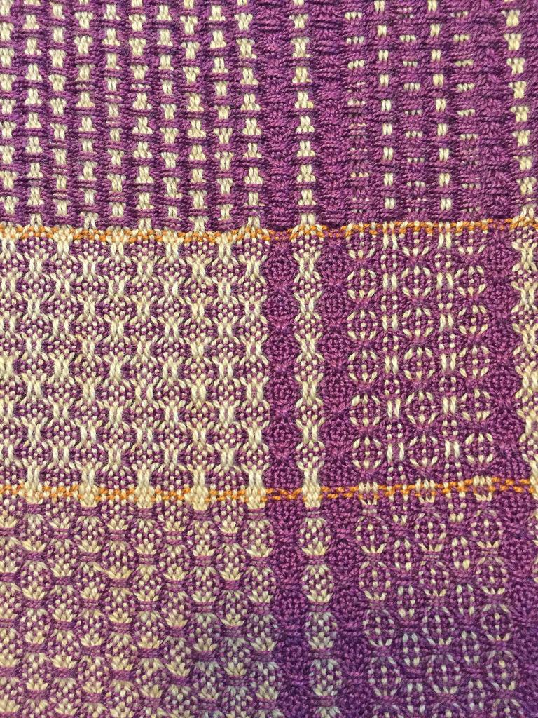 Spot Huck Weft Floats, Spot Huck Warp Floats, Huck Lace With Purple Weft