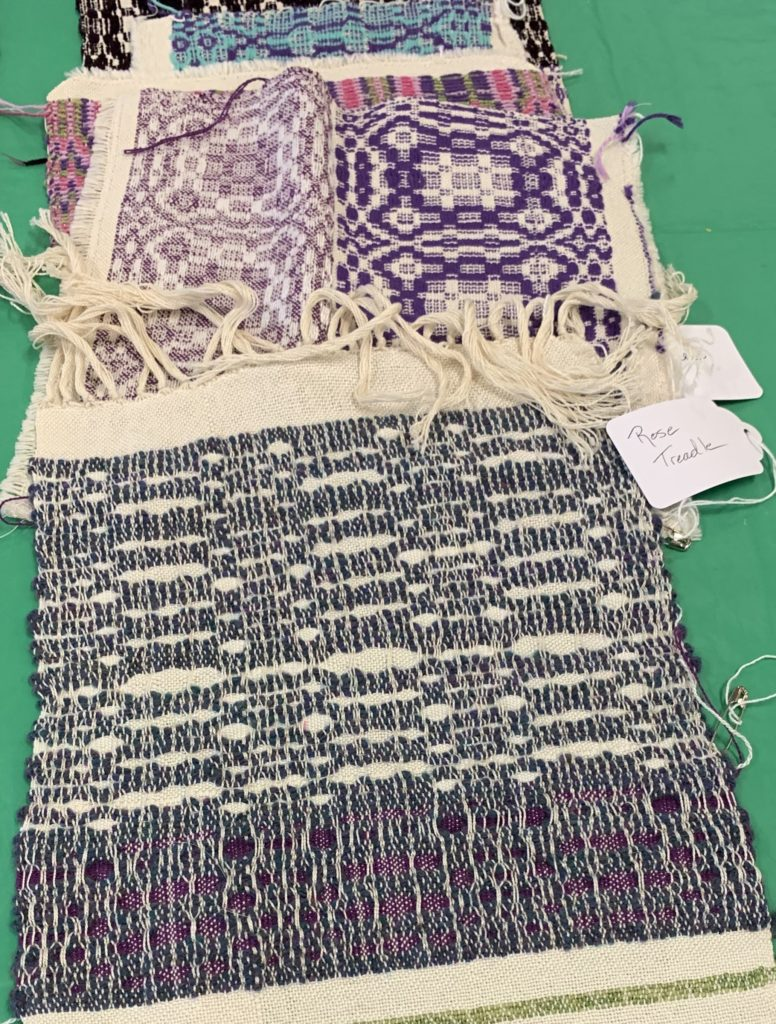 Whidbey Weavers Guild Overshot Class student work after washing at home.