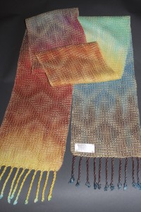 One of the new scarves with hand-dyed warp.