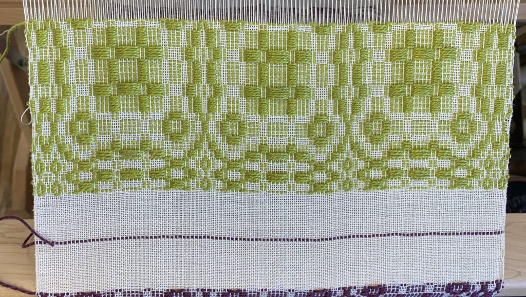 This sample of m's and o's is typical of what how some towels were woven.
